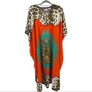 Boho Maxi Kaftan Cover Up Caftan Leopard Lotus